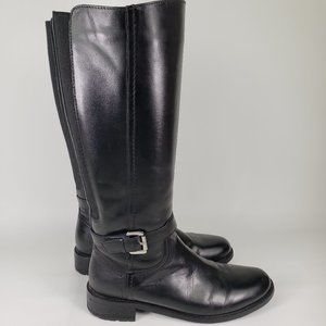 Clarks Moto Black Genuine Leather Tall Flat Boots